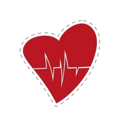 Heart rate health cardiology symbol cut line vector