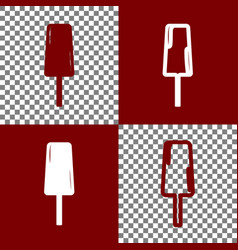 Ice cream sign bordo and white icons and vector