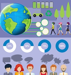 Infographic with people and graphs vector