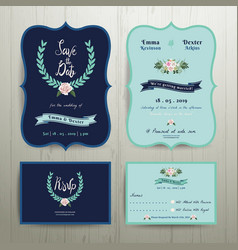 Navy blue wedding invitation card vector