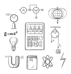 Physics and mechanics sketch icons vector image