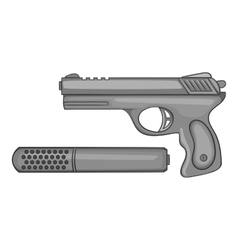 Pistol with a silencer icon monochrome style vector