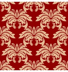 Red damask floral seamless pattern vector image