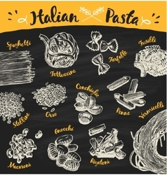 Set drawn Italian pasta sketch vector image