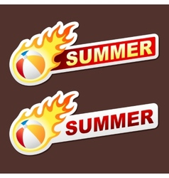 Summer flame sticker banner label tag vector
