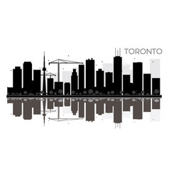 toronto city skyline black and white silhouette vector image vector image