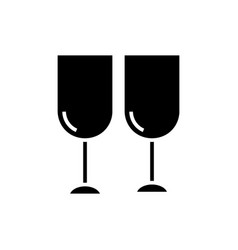 wine glasses icon black sign vector image