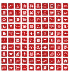 100 book icons set grunge red vector