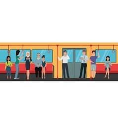 People using smartphone phones in subway train vector