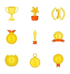 Competition icons set cartoon style vector