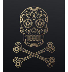 Sugar skull day of the dead golden with crossed vector