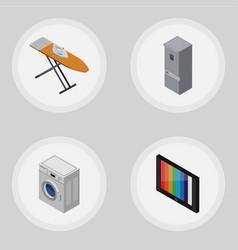 isometric appliance set of kitchen fridge laundry vector image