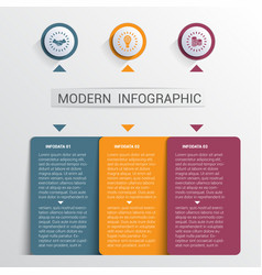Infographics design template color buttons and 3 vector