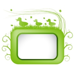 Spring banner with green grass and duck vector