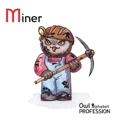 Alphabet professions owl letter m - miner vector