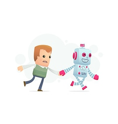 robot runs with a man vector image