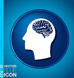 Icon head think silhoutte man and his mind about B vector image