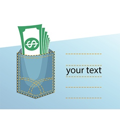 Yeans pocket money vector