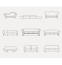 Modern luxury sofas and couches furniture icons vector
