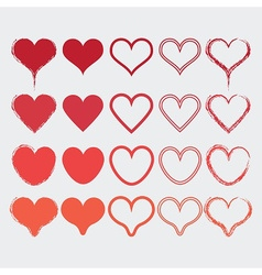 Set of different heart shapes icons in modern red vector