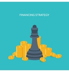 Flat chess figures strategy concept background vector