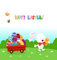 Bunny delivering easter eggs vector