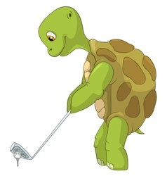 Funny turtle golf player vector