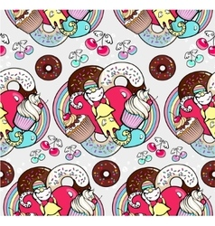 Seamless pattern with cats and cupcakes vector
