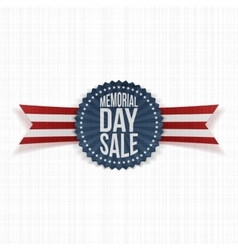 Memorial day sale festive badge and ribbon vector