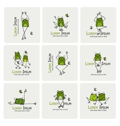 Funny frogs collection sketch for your design vector image