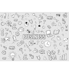 Business doodles objects background drawing vector