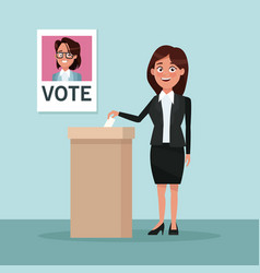 Background scene woman in formal suit skirt vote vector