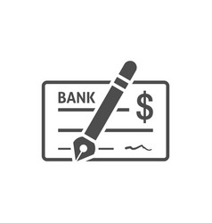 bank check icon flat vector image vector image
