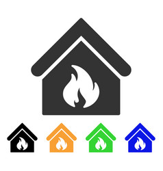 building fire icon vector image vector image