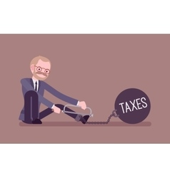 Businessman chained with a metall weight Taxes vector image vector image