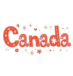 Canada text decorative lettering type design vector