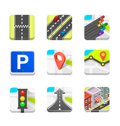 Collection of road icons vector