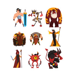 collection with different fantasy game characters vector image
