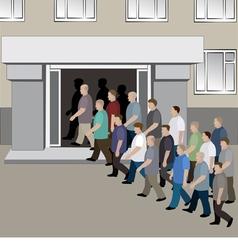 Crowd of men is entering into the doors vector image vector image