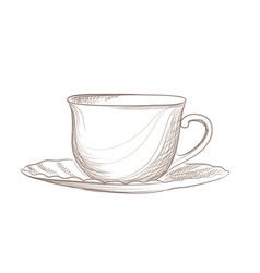 cup of coffee engraving isolated coffee break icon vector image vector image