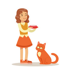 Cute little girl holding a bowl with milk and red vector