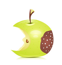 Eated rotten apple vector