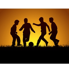 Four boys playing football vector image vector image