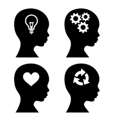 Head Silhouette with Idea Icons Set vector image vector image