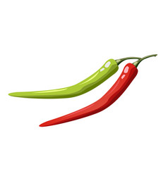hot chili pepper set isolated on white background vector image