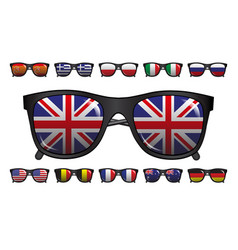 icons set of sunglasses with reflection of flags vector image