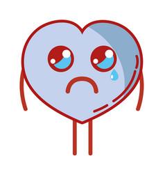 Kawaii cute crying heart love vector