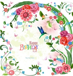 lovely invitation card with roses and bird Happy vector image
