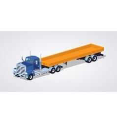Low poly blue heavy truck and trailer with the vector image vector image