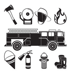 monochrome of fireman tools in fire vector image vector image